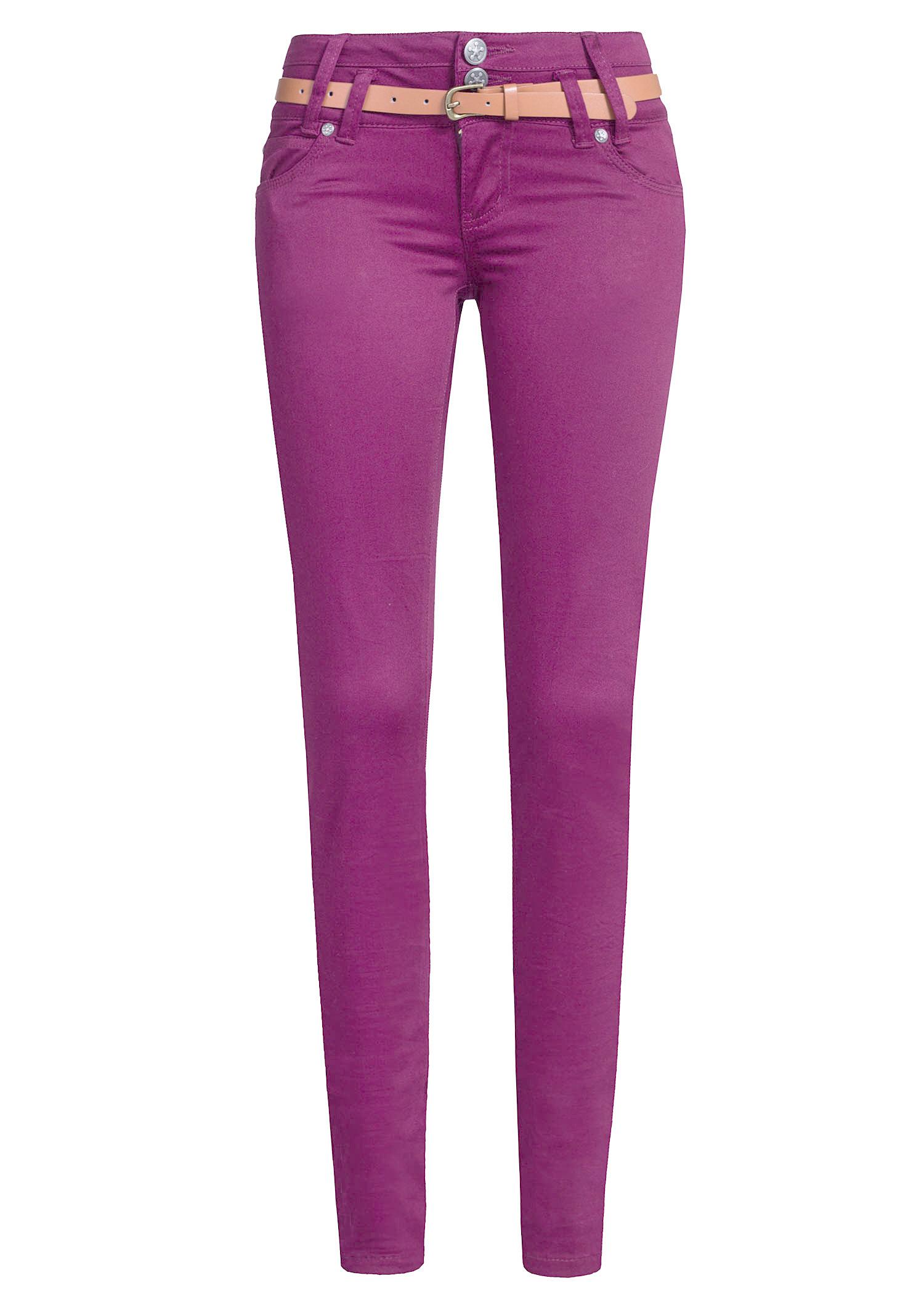 Dámské kalhoty MADONNA - mačkané - fialové - vel. M