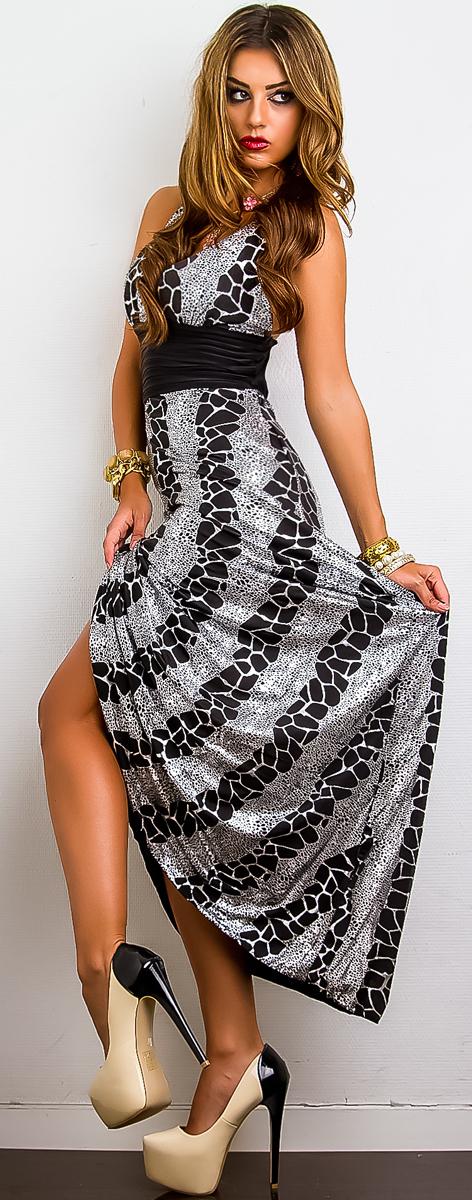 Dámské letní dlouhé šaty - černo-stříbrné - vel. UNI - SLEVA
