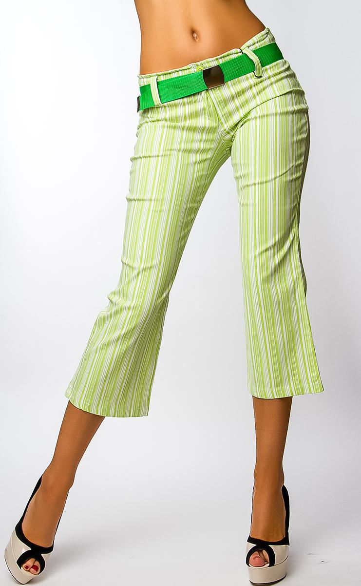 Dámské 7/8 kalhoty s páskem - zeleno-bílé - vel. L