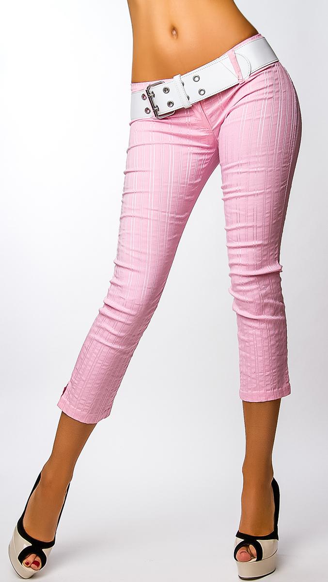Dámské 7/8 kalhoty s páskem - růžovo-bílé - vel. 46