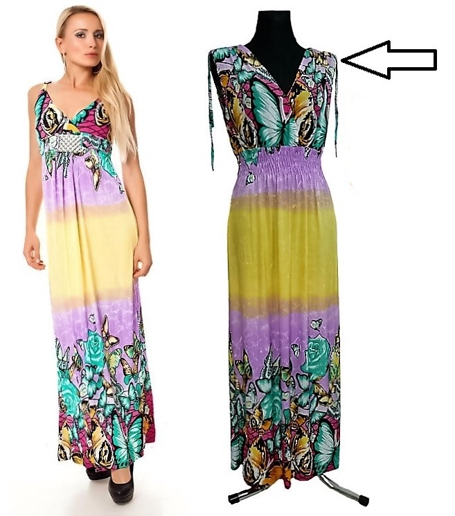 Dámské dlouhé letní šaty do V MEGAN 01 - vel. UNI