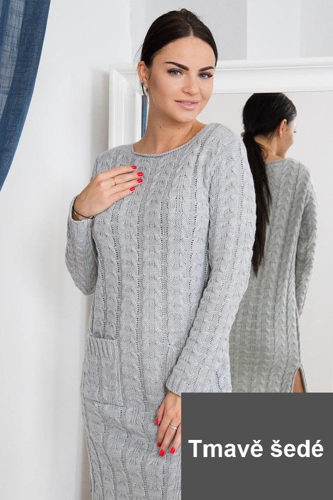 4ae402ef4909 Dámské úpletové šaty s kapsami - tmavě šedé - vel. UNI
