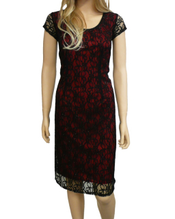 Dámské krajkové šaty - černo-červené - vel. 7d1d9eba80