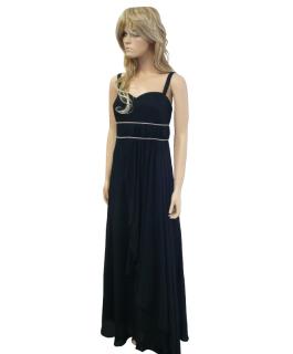 Černé dlouhé plesové šaty na ramínka - vel. e6e7a23c2d