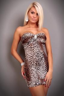 f7139b6301c7 Sexy šaty s broží hnědý tygr - vel. UNI empty