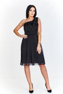 bf48715436b Dámské plesové společenské šaty na ramínko - černé - vel.