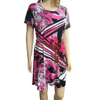 4c93b8ec1d7 Dámské květované letní šaty - černo-růžové - vel.