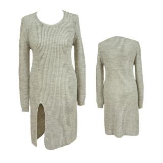 Dámský prodloužený svetr úpletové šaty s rozparkem - světle šedý - vel. b5193b2980