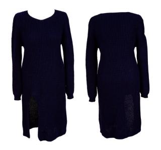 Dámský prodloužený svetr úpletové šaty s rozparkem - tmavě modrý - vel. b646875323