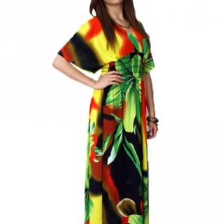 cdb6fb72dd99 Dámské dlouhé letní šaty zeleno-žluto-červené - vel. UNI empty
